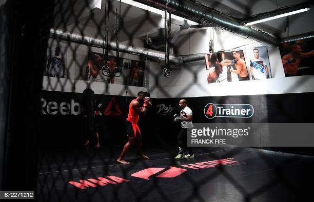 FrenchCameroonian mixed martial artist Francis Ngannou trains at the MMA Factory in Paris on April 21 2017 Born in Cameroon Ngannou arrived in France...