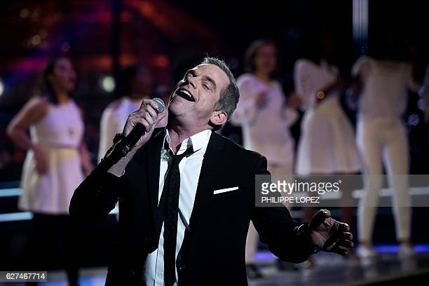 FrenchCanadian singer Garou performs during the evening of the 2016 French Telethon fundraising television event against muscular dystrophy on...