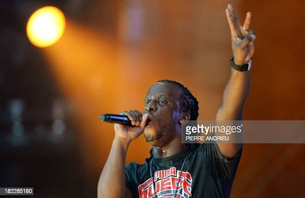 FrenchCongolese rap singer Youssoupha performs onstage during the Urban Peace 3 hiphop concert on September 28 2013 at the Stade de France in...