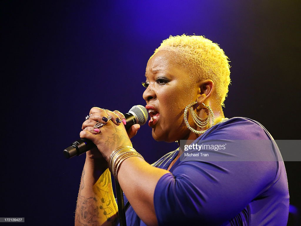 <a gi-track='captionPersonalityLinkClicked' href=/galleries/search?phrase=Frenchie+Davis&family=editorial&specificpeople=234768 ng-click='$event.stopPropagation()'>Frenchie Davis</a> performs at the Friend Movement Campaign benefit concert held at El Rey Theatre on July 1, 2013 in Los Angeles, California.