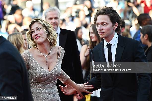 FrenchItalian actress Valeria BruniTedeschi and French singer Raphael arrive for the screening of the film 'Asphalte' at the 68th Cannes Film...