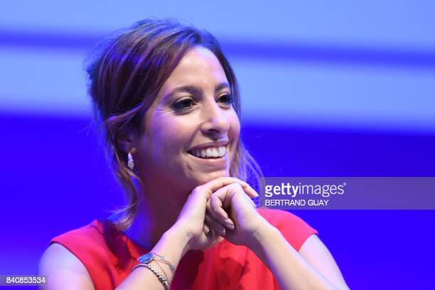 FrenchLebanese journalist Lea Salame smiles as she takes part in a press conference held at the start of the 2017/2018 season at the French public...