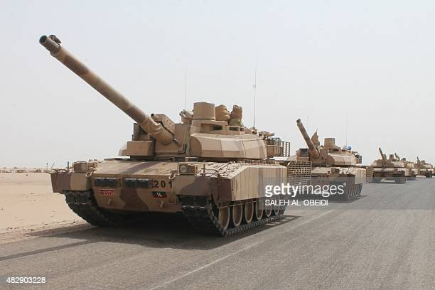 Frenchmade Leclerc tanks of the Saudiled coalition are deployed on the outskirts of the southern Yemeni port city of Aden on August 3 during a...