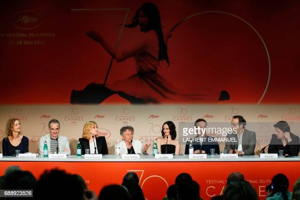 FrenchPolish director Roman Polanski talks on May 27 2017 during a press conference with French writer Delphine De Vigan French director and...