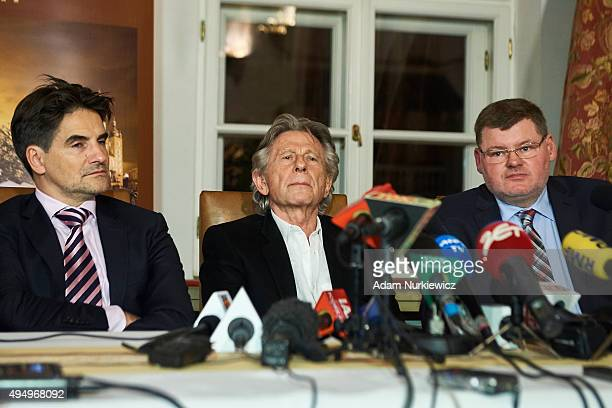 FrenchPolish film director Roman Polanski and lawyers Jerzy Stachowicz and Jan Olszewski give a press conference at the Bonarowski Palace Hotel on...
