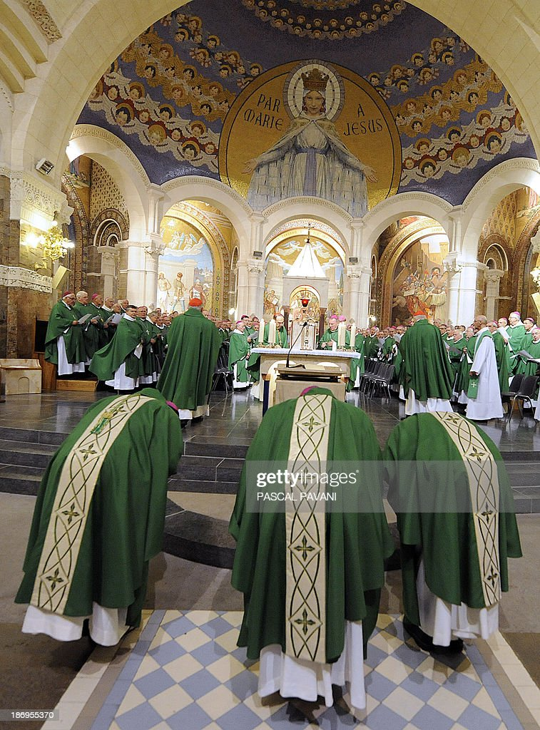 Frenchs cardinals of the Roman Catholic Church attend a mass on November 5, 2013 in the Rosaire basilica in the pilgrimage city of Lourdes, southwestern France, during the annual session of the Bishops' Conference of France. The meeting runs from November 5 to 10, 2013.