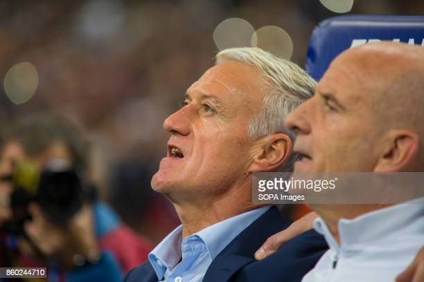 French's coach Didier Deschamps before the World Cup Group A qualifying soccer match between France and Belarus at Stade de France
