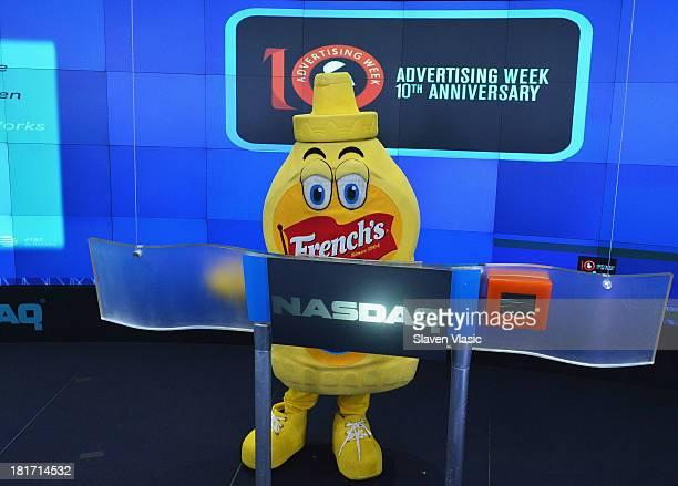 French's Mustard Man rings the closing bell at NASDAQ MarketSite on September 23 2013 in New York City