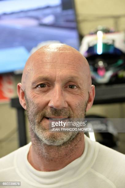 French's pilot Fabien Barthez poses after a relay during the Test Day of the Le Mans 24 hours endurance race on June 4 2017 in Le Mans northwestern...