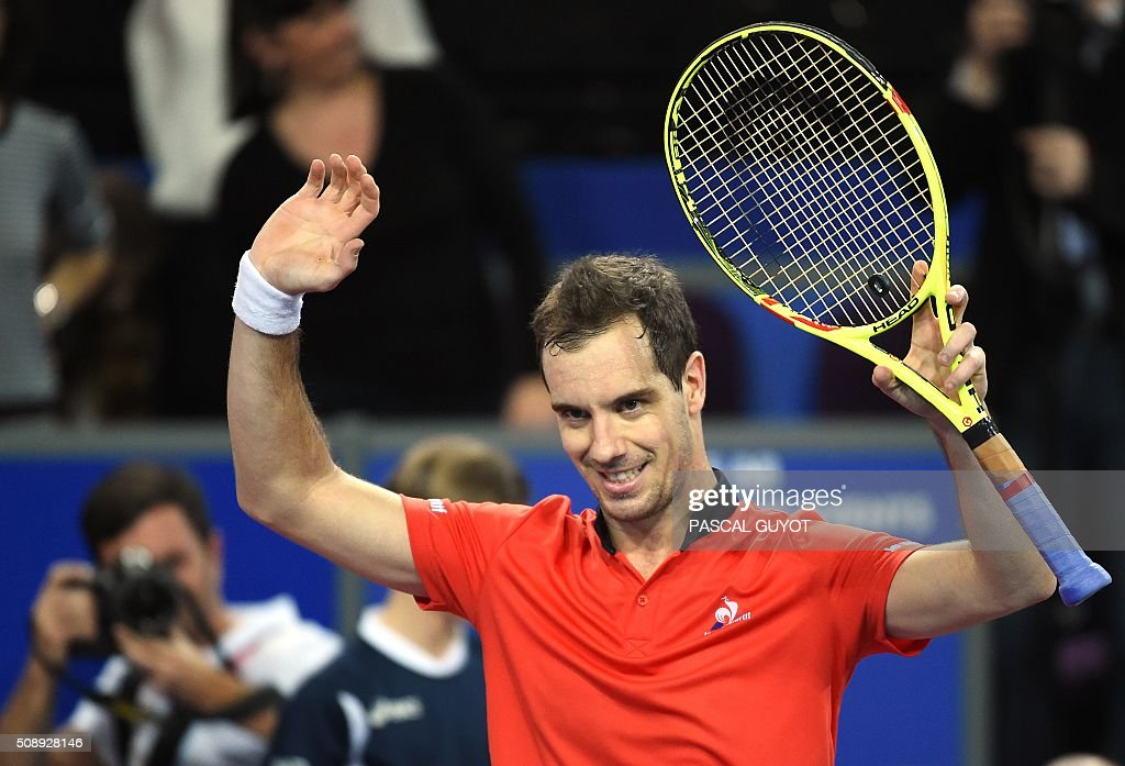 French's Richard Gasquet reacts after winning against his compatriot Paul-Henri Mathieu during their final tennis match at the Open Sud de France ATP World Tour in Montpellier, southern France, on February 7, 2016. Richard Gasquet won the Montpellier ATP title for the third time on Sunday with a 7-5, 6-4 win over French compatriot Paul-Henri Mathieu. / AFP / PASCAL GUYOT