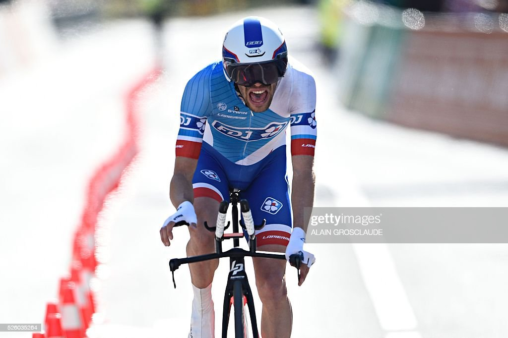 French's Thibault Pinot of FDJ competes during the fourth stage of the 70th Tour de Romandie UCI World Tour, a 15 km individual time-trial in Sion, on April 29, 2016, in Lausanne. / AFP / Alain Grosclaude