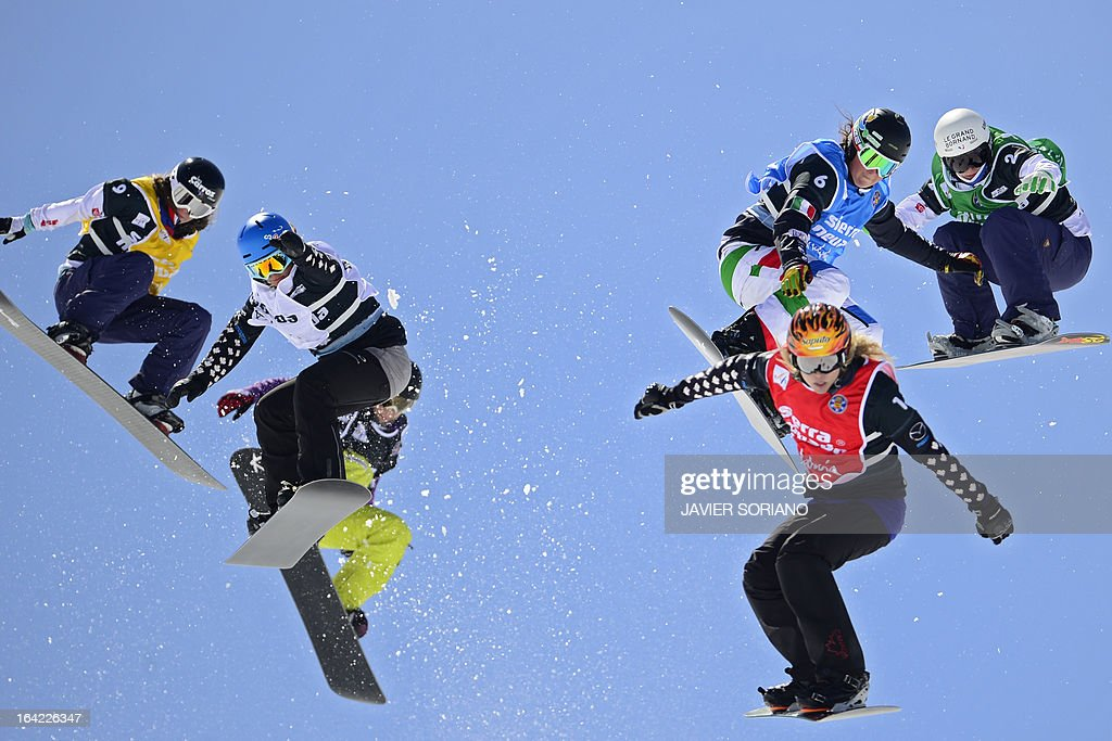 Frenchsnowboarder Lorelei Schmitt, Canadian snowboarderMaelle Ricker, Swiss snowboarder Simona Meiler, Italiansnowboarder Michela Moioli, Canadiansnowboarder Dominique Maltais and French snowboarder Nelly Moenne Loccoz compete during theLadies' Snowboard Cross final race at the Snowboard and FreeStyle World Cup Super finals at Sierra Nevada ski resort near Granada on March 21, 2013. Dominique Maltais won the race ahead of second-placed Nelly Moenne Loccoz and third-placed Maelle Ricker.