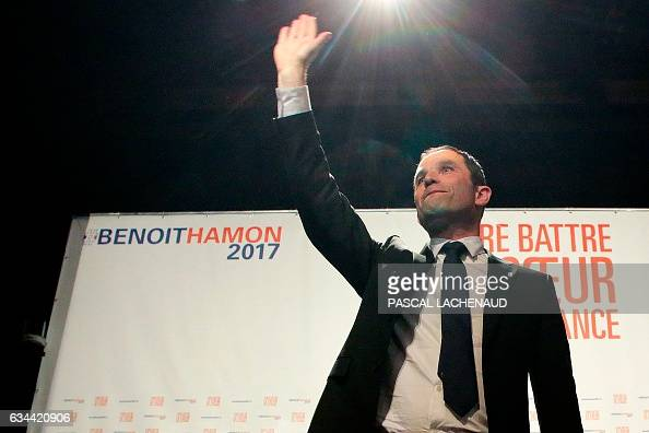 TOPSHOT FrenchSocialist Party presidential candidate Benoit Hamon gestures after delivering a speech in Gueret Central France on February 9 2017 /...