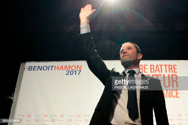 TOPSHOT French Socialist Party presidential candidate Benoit Hamon gestures after delivering a speech in Gueret Central France on February 9 2017 /...
