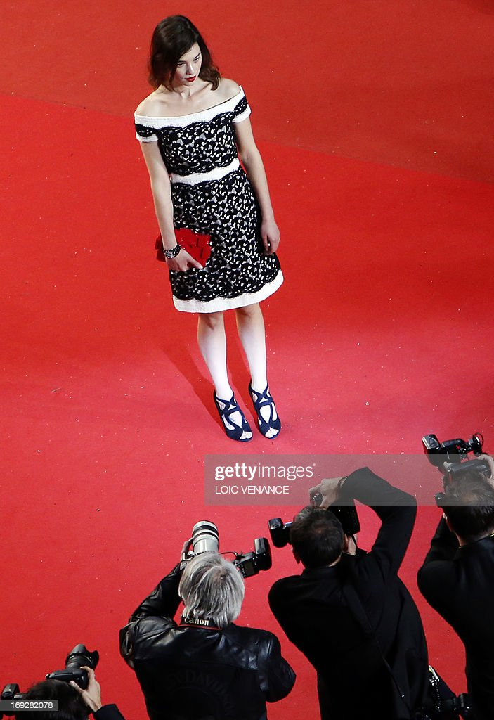 French-Spanish actress Astrid Berges-Frisbey poses on May 22, 2013 as she arrives for the screening of the film 'Only God Forgives' presented in Competition at the 66th edition of the Cannes Film Festival in Cannes. Cannes, one of the world's top film festivals, opened on May 15 and will climax on May 26 with awards selected by a jury headed this year by Hollywood legend Steven Spielberg.