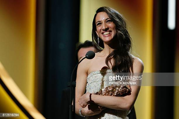 FrenchTurkish director Deniz Gamze Erguven smiles after winning the Best First Feature Film award for 'Mustang' during the 41st edition of the Cesar...
