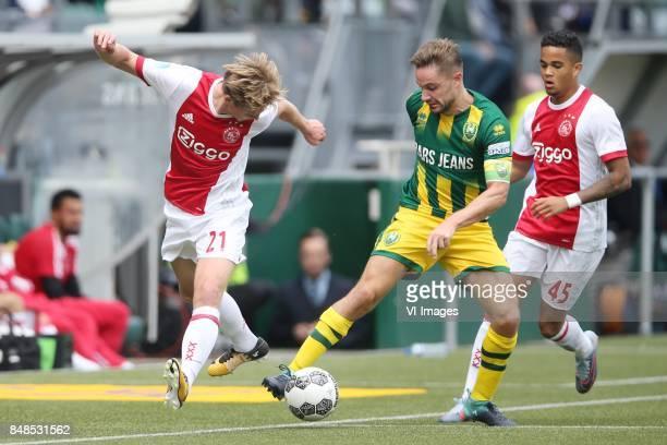 Frenkie de Jong of Ajax Aaron Meijers of ADO Den Haag Justin Kluivert of Ajax during the Dutch Eredivisie match between ADO Den Haag and Ajax...