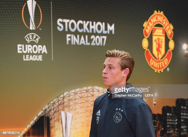 Frenkie de Jong of Ajax arrives at the stadium prior to the UEFA Europa League Final between Ajax and Manchester United at Friends Arena on May 24...