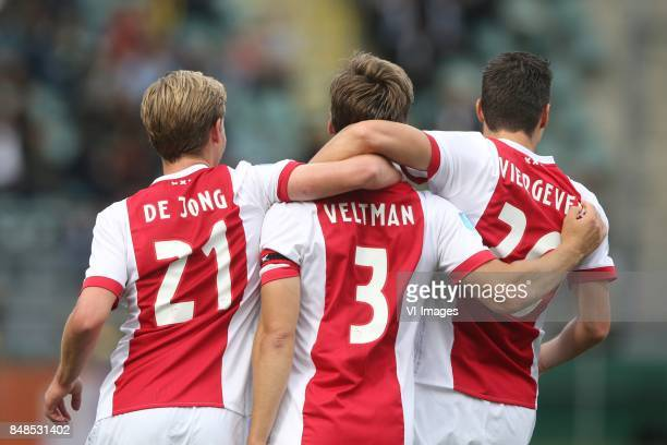 Frenkie de Jong of Ajax Joel Veltman of Ajax Nick Viergever of Ajax during the Dutch Eredivisie match between ADO Den Haag and Ajax Amsterdam at Car...