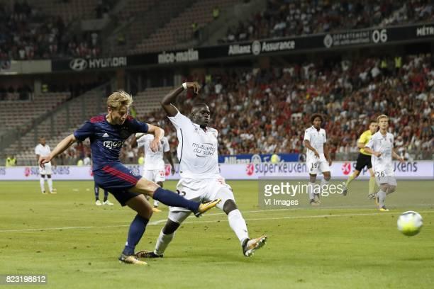 Frenkie de Jong of Ajax Malang Sarr of OCG Nice Dante of OCG Nice Vincent Koziello of OCG Nice during the UEFA Champions League third round...