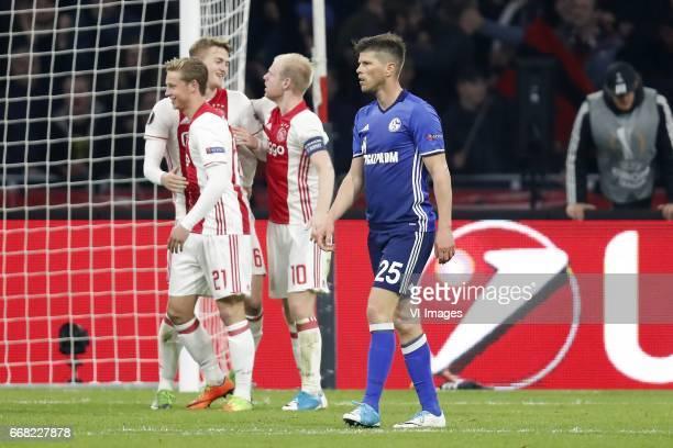 Frenkie de Jong of Ajax Matthijs de Ligt of Ajax Davy Klaassen of Ajax KlaasJan Huntelaar of FC Schalke 04during the UEFA Europa League quarter final...