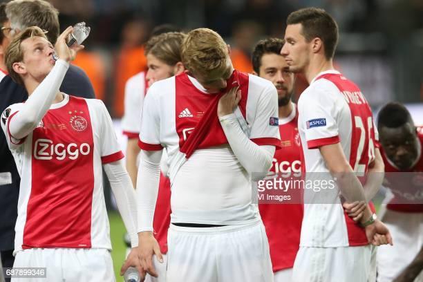 Frenkie de Jong of Ajax Matthijs de Ligt of Ajax Nick Viergever of Ajaxduring the UEFA Europa League final match between Ajax Amsterdam and...