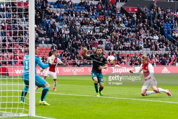 Frenkie de Jong of Ajax scoresduring the Dutch Eredivisie match between Ajax Amsterdam and Go Ahead Eagles at the Amsterdam Arena on May 07 2017 in...