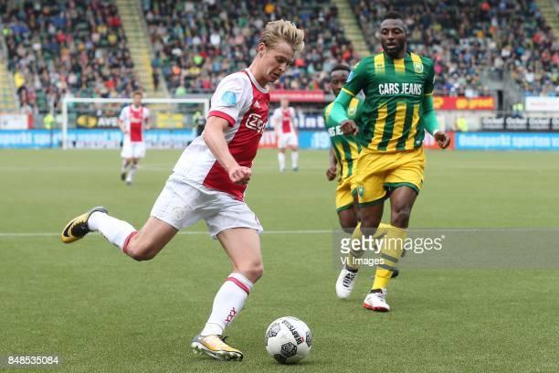 Frenkie de Jong of Ajax Wilfried Kanon of ADO Den Haag during the Dutch Eredivisie match between ADO Den Haag and Ajax Amsterdam at Car Jeans stadium...