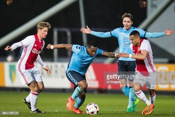 Frenkie de Jong of Jong Ajax Darren Rosheuvel of Jong FC Utrecht Damil Dankerlui of Jong Ajaxduring the Jupiler League match between jong Ajax and...