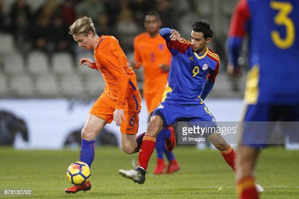 Frenkie de Jong of Jong Oranje Aaron Sanchez of Jong Andorra during the EURO U21 2017 qualifying match between Netherlands U21 and Andorra U21 at the...
