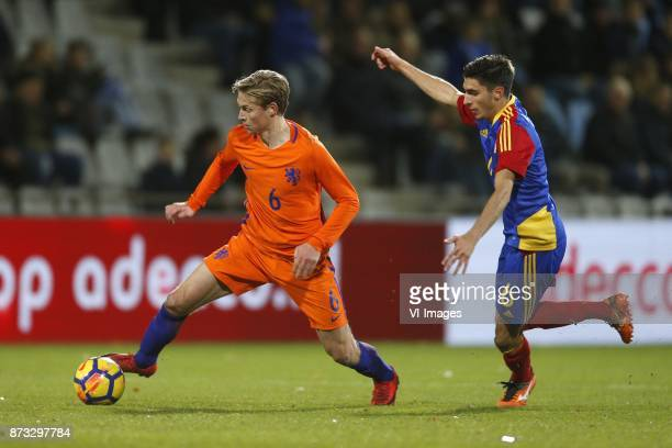 Frenkie de Jong of Jong Oranje Alex Villagrasa of Jong Andorra during the EURO U21 2017 qualifying match between Netherlands U21 and Andorra U21 at...
