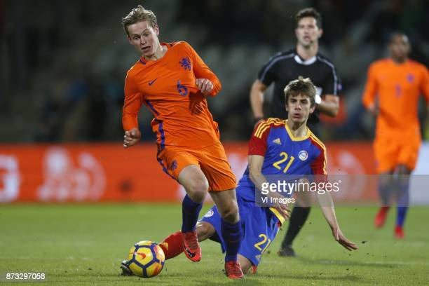 Frenkie de Jong of Jong Oranje Andre Armada of Jong Andorra during the EURO U21 2017 qualifying match between Netherlands U21 and Andorra U21 at the...