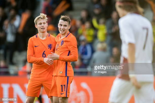 Frenkie de Jong of Jong Oranje Oussama Idrissi of Jong Oranje 10 during the EURO U21 2017 qualifying match between Netherlands U21 and Latvia U21 at...