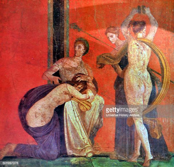 Fresco depicting a Bacchian rite Bacchus is the Roman title for Dionysus the god of wine and intoxication Dated 1st Century BC