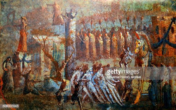 Fresco depicting the arrival of the Trojan Horse from Pompeii The Trojan Horse was used to enter the Greek city of Troy Dated 1st Century BC