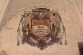 Fresco depicting the coat of arms of one of the bishops of the city Episcopal Palace Novara Piedmont Italy