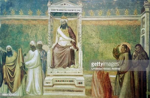 Fresco depicting the St Francis's challenge to the Sultan of Egypt St Francis stood before the Sultan AlKamil of Egypt offering trialby fire in order...