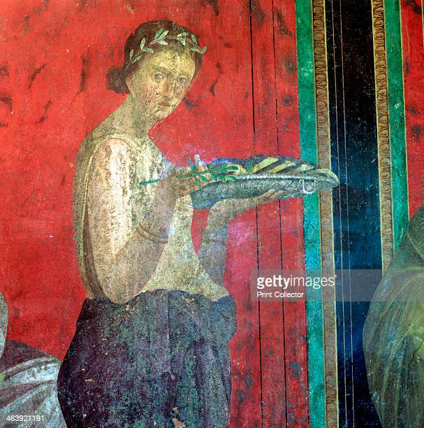 Fresco Detail Initiate Making an Offering 1st Century BC The Catechism with a Young Girl Reading and the Initiate Making an Offering Villa of the...