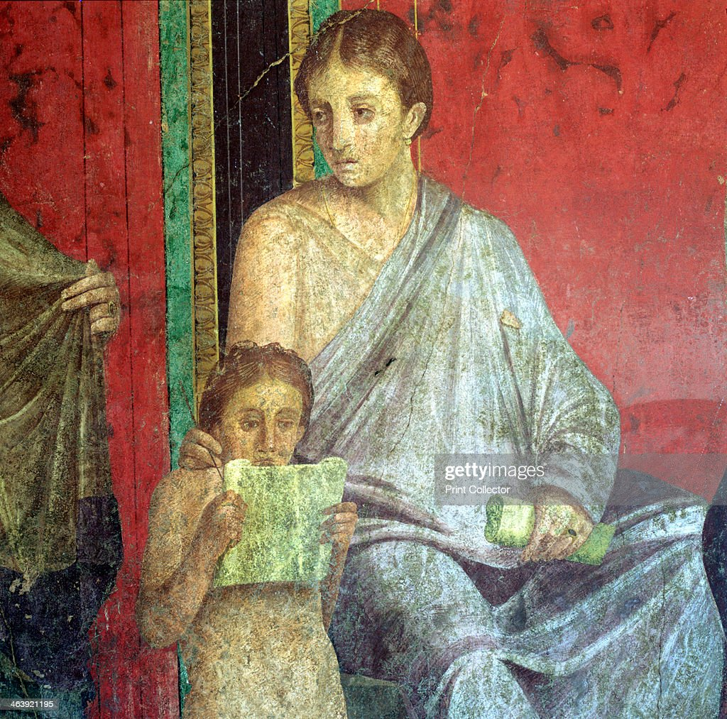 Fresco Detail Young Girl Reading 1st Century BC The Catechism with a Young Girl Reading and the Initiate Making an Offering Villa of the Mysteries Pompeii Photo by Art MediaPrint CollectorGetty Images
