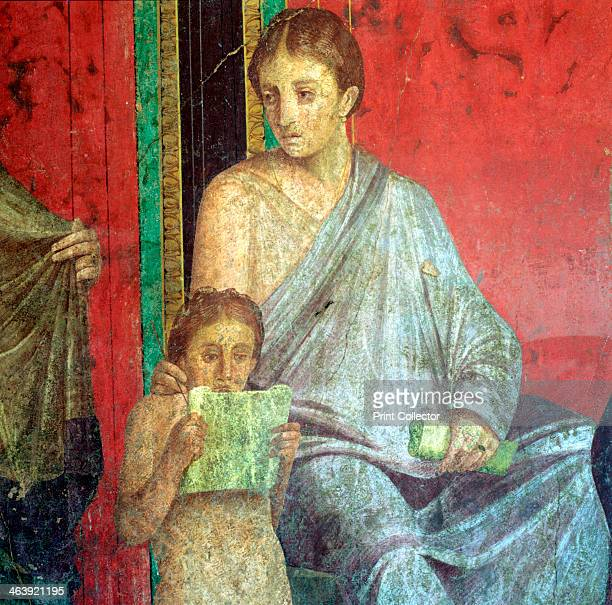 Fresco Detail Young Girl Reading 1st Century BC The Catechism with a Young Girl Reading and the Initiate Making an Offering Villa of the Mysteries...