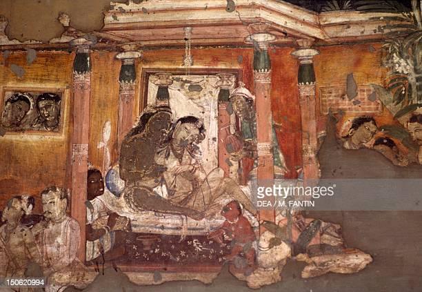 Fresco in the Ajanta Caves India Indian Civilization ca 6th century