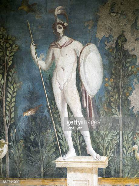 A fresco in the Villa of the Mysteries a preserved Roman Villa on the outskirts of Pompeii a once sophisticated city that was buried in meters of ash...