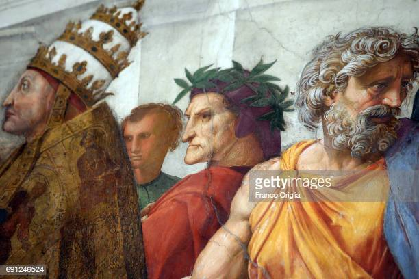 A fresco of the Room of the Signatura featuring Dante Alighieri during the inauguration of the Raphael Rooms new lighting on June 1 2017 in Vatican...