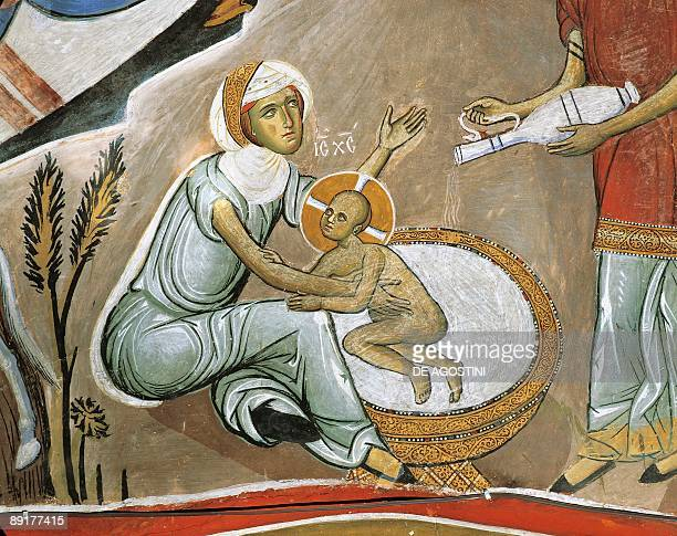 Fresco of Virgin Mary and Jesus Christ Panagia Too Araka Bizantine Troodos Mountains Cyprus