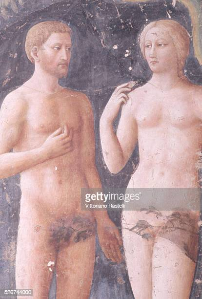 A fresco painting of Adam and Eve in the Brancacci Chapel in Florence