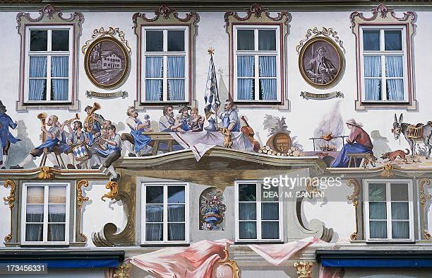 Frescoed facade of the birthplace of the German writer Ludwig Thoma Oberammergau Bavaria Germany