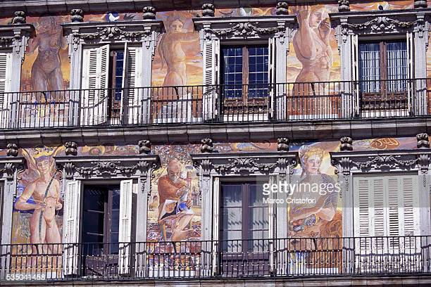 Frescoes on Building at Plaza Mayor in Madrid