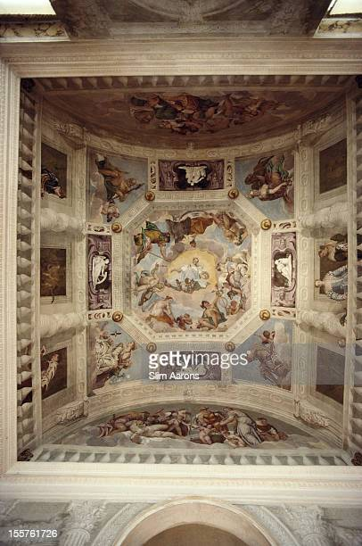 Frescoes painted by Paolo Veronese on the ceiling of the Villa Barbaro at Maser near Asolo Italy in September 1988