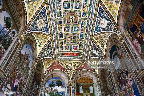 Frescos by Bernardino Pinturicchio in Piccolomini Library in Siena Cathedral.