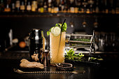 Fresh alcoholic cocktail with cucumber, mint and ginger and different bartender equipment on the bar counter